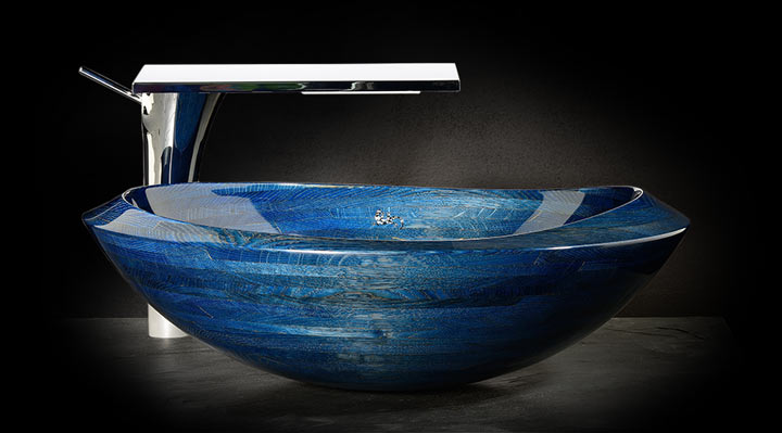All-wood washbasin Elypse – blue